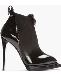 McQ - Black Patent Brushed Suede Chelsea Ankle Boots - Lyst