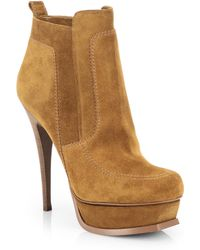 Saint Laurent Suede Shearling Stiletto Ankle Boot - Lyst
