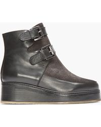 Surface To Air - Black Leather and Suede Buckled Moon Step Boots - Lyst