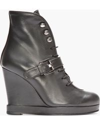 Surface To Air - Black Leather Buckled Wedge Boots - Lyst