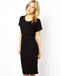 Asos Bodycon Dress with Tie Side - Lyst