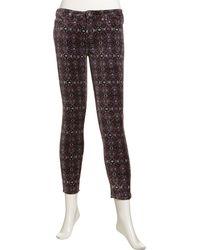 Free People Skinny Printed Velvet Jeans - Lyst