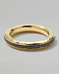 Ippolita 18k Gold Channel Ring with Black Diamonds Size 10 - Metallic