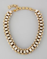 Lee Angel - Yellow Goldplated Clear Crystal Baguette Necklace - Lyst