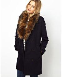 Parka London Maisy Pea Coat with Faux Fur Trim - Blue