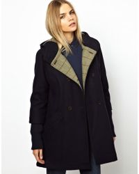ASOS - Parka London Scarlett Wool Swing Coat with Hood and Knitted Cuff - Lyst