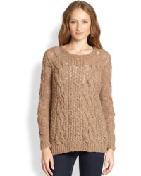 Augden Open-Weave & Cable-Knit Sweater - Lyst