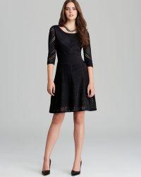 Catherine Malandrino Dress Favorite Bernadette Mixed Pointelle - Black