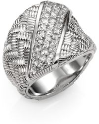 Judith Ripka White Sapphire and Sterling Silver Cigar Band Ring - Lyst