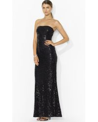 Lauren by Ralph Lauren Strapless Sequin Lace Gown - Black