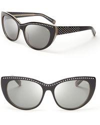 Rebecca Minkoff Stanton Studded Cat Eye Sunglasses - Black