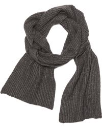 Vince Cashmere Ribbed Scarf - Gray