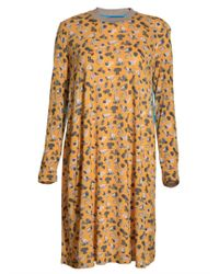 Antipodium Peeper Jersey Dress in Candid Camera Print By - Yellow