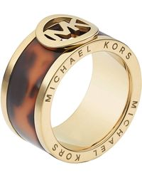 Michael Kors Goldtone Tortoiseshellprint Fulton Band Ring - Metallic