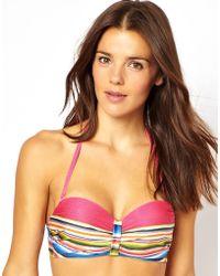 Stussy - Asos Blanket Print Fuller Bust Longline Bikini Top Df - Lyst