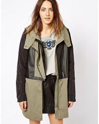 Asos Premium Parka with Leather Overlay - Lyst