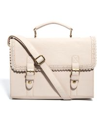 ASOS Asos Large Satchel Bag with Scallop Trim and Front Buckles - Natural