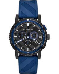 Burberry Watch, Men's Swiss Chronograph The New City Sport Blue Rubber Strap 42mm Bu9807