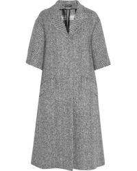 Dolce & Gabbana Herringbone Wool Coat - Lyst