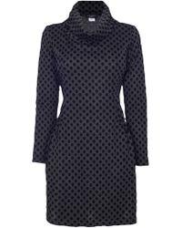 James Lakeland Cowl Bicolour Dots Dress - Grey