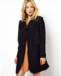 Mademoiselle Tara - Double Breasted Coat with Contrast Tipping - Lyst