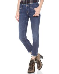 Mother The Cropped Looker Skinny Jeans - Flowers From The Storm - Lyst