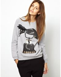 Mother Of Pearl Sweatshirt with Feather and Beaded Crow Print - Gray