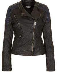 Topshop Faux Leather Biker Jacket - Lyst
