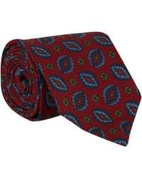 Drake's Red Paisley Print Wool Tie