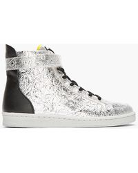 Adidas SLVR - Metallic Silver Leather Foil High_top Sneakers - Lyst