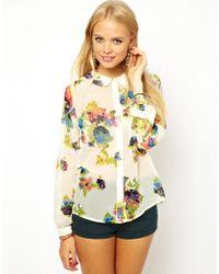 Asos Digital Bird Print T-Shirt Dress - Lyst