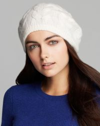 C By Bloomingdale's Cashmere Cable Beret - White