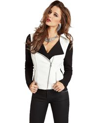 Guess Clean Knit Back Pu Jacket - Lyst