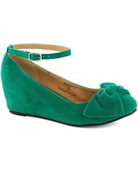 ModCloth | Such A Doll Wedge in Green | Lyst