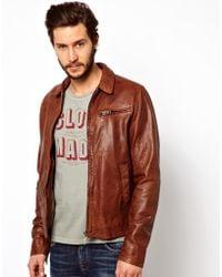 Nudie Jeans Leather Jacket Ervin 50s Biker - Brown