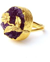 Toosis One Of A Kind Raw Amethyst Ring with A Flower - Lyst