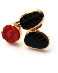 Toosis Red Coral Rose with Black Onyx Leaves Ring - Lyst