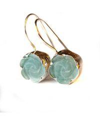 Toosis Amazonite Rose Carved Earrings - Lyst