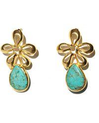 Toosis Turquoise Underwater Flower Earrings - Lyst