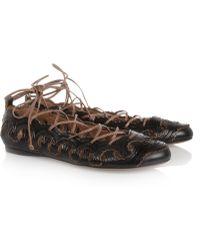Alaïa Laceup Leather Ballet Flats - Brown