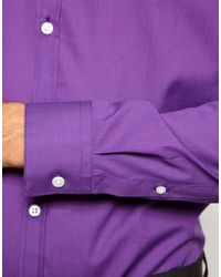 ASOS Smart Shirt with Button Down Collar - Purple