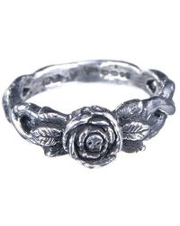 Momocreatura Skull In Tiny Rose Rings - Oxdised Silver - Lyst