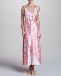 Oscar de la Renta Chantilly Lace Ruffled Nightgown - Pink