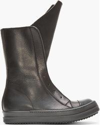 Rick Owens Black Leather Basket Boots - Lyst