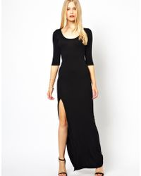 Love Casual Maxi Dress with Thigh Split - Black