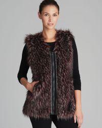 Via Spiga Parma Collarless Faux Fur Vest - Lyst