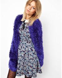 Ashish Asos Edge To Edge Cardigan in Fluffy Yarn - Purple