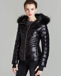 Andrew Marc Down Coat Fur Trim Hood - Black