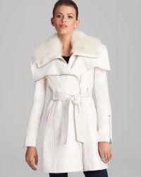 BCBGMAXAZRIA Coat - Asymmetric Belted Fur Collar - White