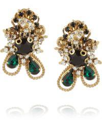 Bijoux Heart - Empire Goldplated Swarovski Crystal Clip Earrings - Lyst